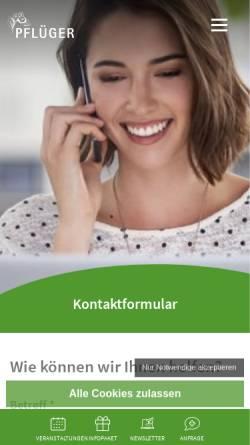 Vorschau der mobilen Webseite www.pflueger.de, Homöopathisches Laboratorium A. Pflüger
