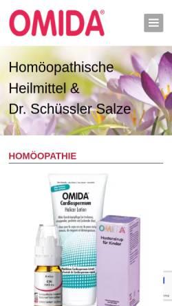 Vorschau der mobilen Webseite www.omida.ch, Omida Homöopathie AG