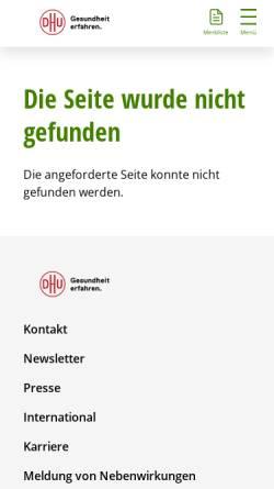 Vorschau der mobilen Webseite www.dhu.de, Pentarkan Komplex-Homöopathie