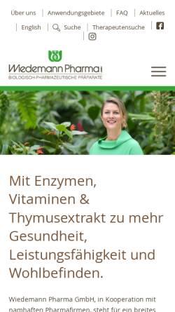 Vorschau der mobilen Webseite www.wiedemann-pharma.de, Wiedemann Pharma GmbH