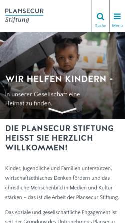 Vorschau der mobilen Webseite www.plansecur-stiftung.de, Plansecur-Stiftung