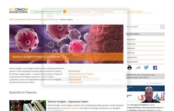 Vorschau von www.krebsgesellschaft.de, Deutsche Krebsgesellschaft e.V.: Morbus Hodgkin