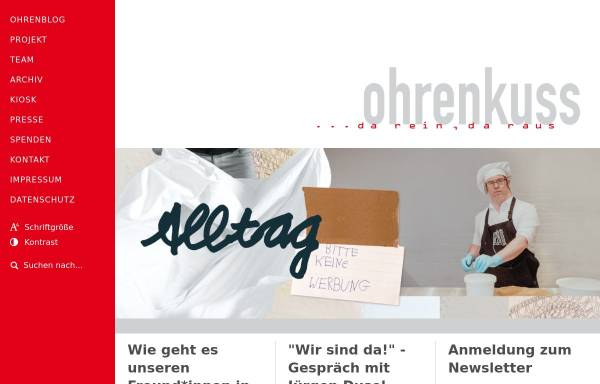 Vorschau von www.ohrenkuss.de, Ohrenkuss ...da rein, da raus