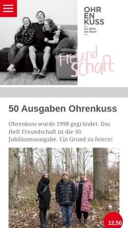 Vorschau der mobilen Webseite www.ohrenkuss.de, Ohrenkuss ...da rein, da raus