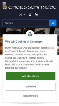 Vorschau der mobilen Webseite www.thorsschmiede.de, Liesegang GmbH