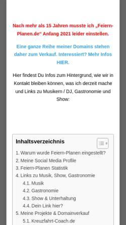 Vorschau der mobilen Webseite www.feiern-planen.de, Feiern - Planen