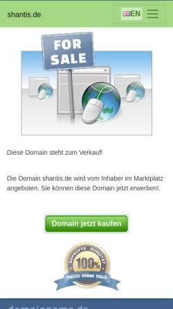 Vorschau der mobilen Webseite www.shantis.de, Shantis