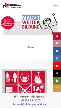 Vorschau der mobilen Webseite www.bildungsmarkt.de, Bildungsmarkt e.V. - Verein zur Bildungsförderung