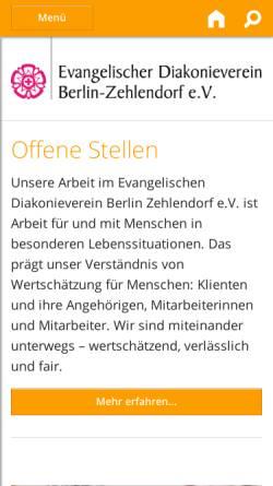Vorschau der mobilen Webseite www.diakonieverein.de, Evangelischer Diakonieverein Berlin-Zehlendorf e.V