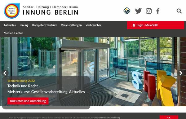 Vorschau von www.shk-berlin.de, Innung Sanitär-Heizung-Klempner-Klima Berlin