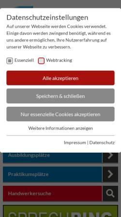 Vorschau der mobilen Webseite www.shk-berlin.de, Innung Sanitär-Heizung-Klempner-Klima Berlin