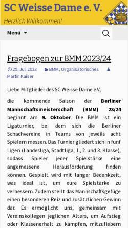Vorschau der mobilen Webseite www.sc-weisse-dame.de, Schachclub Weiße Dame e.V.
