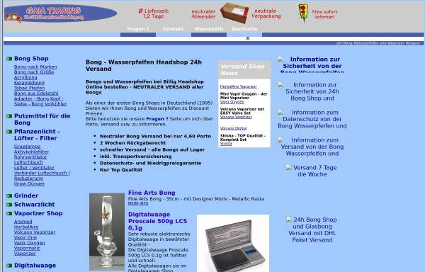 Vorschau von www.billigheadshop.de, Gaia Trading, Michael Duhnke