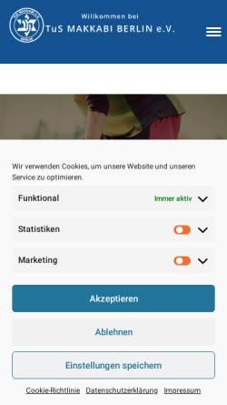 Vorschau der mobilen Webseite tus-makkabi.de, TuS Makkabi Berlin e.V.