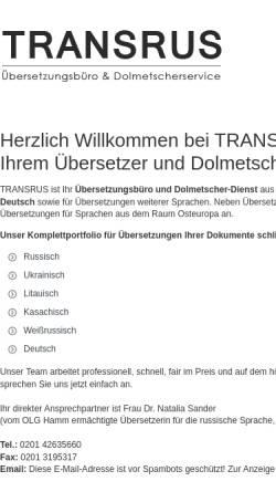Vorschau der mobilen Webseite www.transrus.de, Transrus, Inh. Dr. (Rus) Natalia Sander