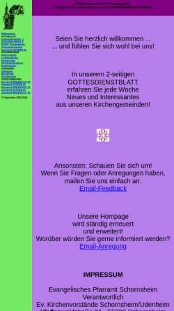 Vorschau der mobilen Webseite www.ev-schornsheim-udenheim.de, Evangelische Kirchengemeinden Schornsheim-Udenheim