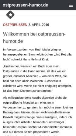 Vorschau der mobilen Webseite www.ostpreussen-humor.de, Ostpreußischer Humor