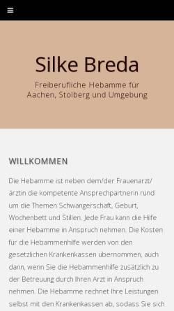 Vorschau der mobilen Webseite www.aachen-hebamme.de, Bulau, Silke