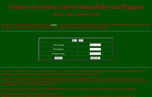 Vorschau von www.pfeff-net.de, Rechner für Feiertagstermine
