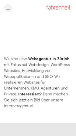 Vorschau der mobilen Webseite www.fahrenheit.ch, Fahrenheit
