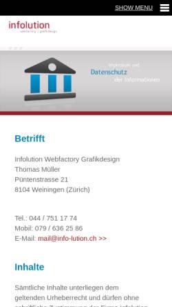Vorschau der mobilen Webseite www.info-lution.ch, Infolution Thomas Mueller