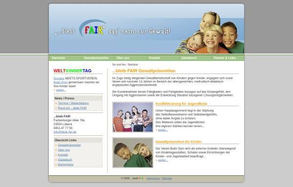 Vorschau von www.bleib-fair.de, Gewaltprävention und Konflikttraining in Lübeck