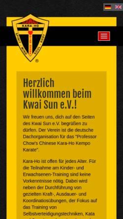 Vorschau der mobilen Webseite www.karaho.de, Kwai Sun - Verein für Chinese Kara-Ho Kempo Karate in Deutschland e.V.