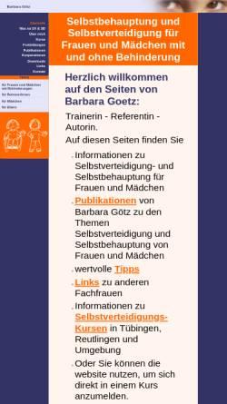 Vorschau der mobilen Webseite www.bgoetz-selbstverteidigung.de, Selbstverteidigung mit Barbara Götz