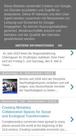 Vorschau der mobilen Webseite chiemgauer.blogspot.com, Chiemgauer - Weblog von Christian Gelleri