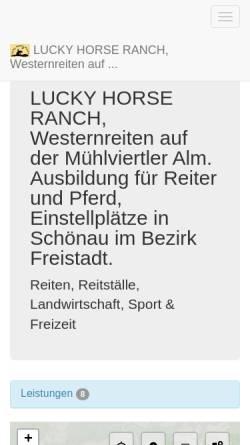Vorschau der mobilen Webseite www.luckyhorse-ranch.at, Lucky Horse Ranch