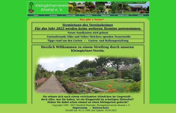 Vorschau von www.ahsetal.de, Kleingärtner-Verein Ahsetal e.V.