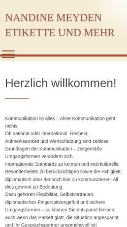 Vorschau der mobilen Webseite www.etikette-und-mehr.de, Nadine Meyden Seminare - Etikette und mehr