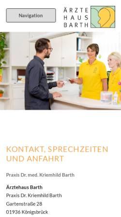 Vorschau der mobilen Webseite aerztehaus-barth.de, Ärztehaus Barth