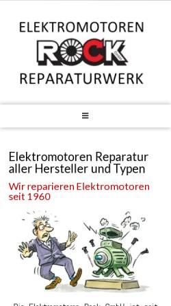 Vorschau der mobilen Webseite www.elektromotoren-rock.de, Elektromotoren - Reparaturwerk Rock GmbH