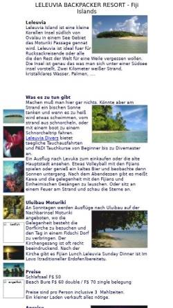 Vorschau der mobilen Webseite www.owlfiji.com, Leleuvia Island Resort, Fiji