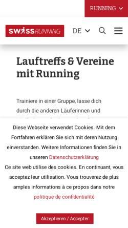 Vorschau der mobilen Webseite www.lauftreff.ch, Lauftreffs Region Basel