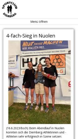 Vorschau der mobilen Webseite www.scdiemberg.ch, Sportclub Diemberg