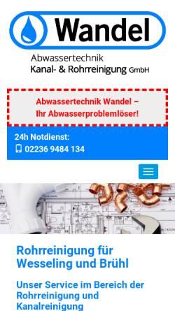 Vorschau der mobilen Webseite www.rkwandel.de, Kanaltechnik Wandel - Inh. A. Wandel