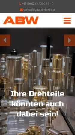 Vorschau der mobilen Webseite www.abw-drehteile.at, ABW Automatendreherei Brüder Wieser Ges.m.b.H.