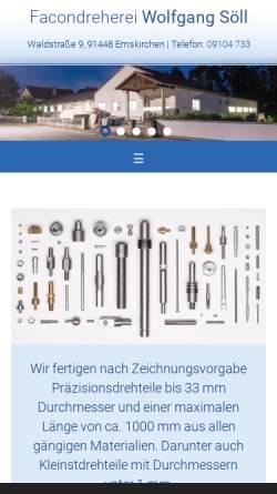 Vorschau der mobilen Webseite www.wwsoell.de, Facondreherei Wilhelm & Wolfgang Söll GdR