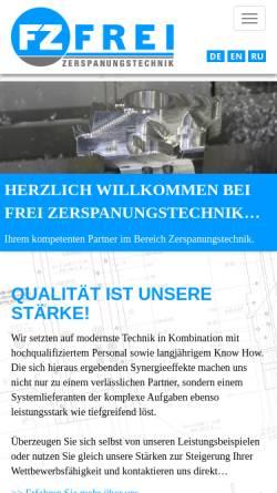 Vorschau der mobilen Webseite www.frei-gmbh.de, Frei GmbH Zerspanungstechnik