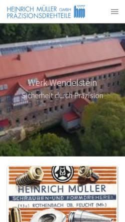 Vorschau der mobilen Webseite www.mueller-drehteile.de, Heinrich Müller GmbH
