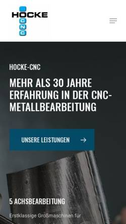 Vorschau der mobilen Webseite www.hocke-cnc.de, Hocke CNC Metallbearbeitung GmbH