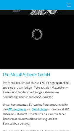 Vorschau der mobilen Webseite www.prometall.org, Pro Metall oHG