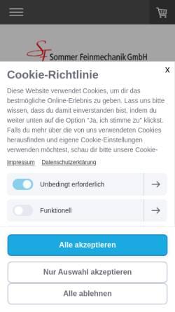 Vorschau der mobilen Webseite sommer-feinmechanik.ch, Sommer Feinmechanik GmbH