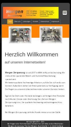 Vorschau der mobilen Webseite www.wergen.de, Wergen Zerspanungstechnik GbR