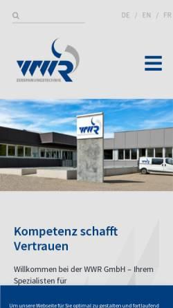 Vorschau der mobilen Webseite www.wwr-gmbh.de, WWR Zerspanungstechnik GmbH