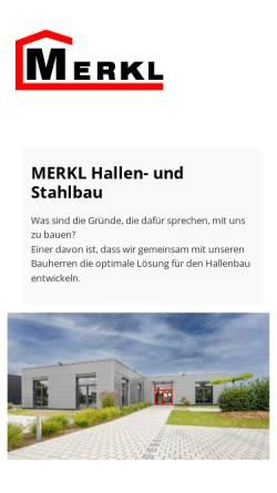 Vorschau der mobilen Webseite www.hallenbau-merkl.de, Merkl Hallen- und Stahlbau GmbH