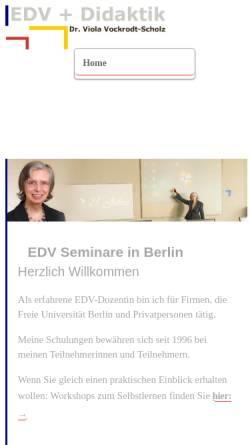 Vorschau der mobilen Webseite www.edvdidaktik.de, EDV Didaktik Dr. Viola Vockrodt-Scholz