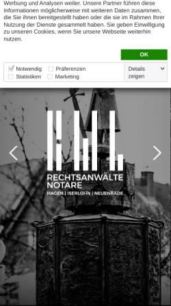 Vorschau der mobilen Webseite bwl-rechtsanwaelte.de, Breimhorst · Witta · Langkamp